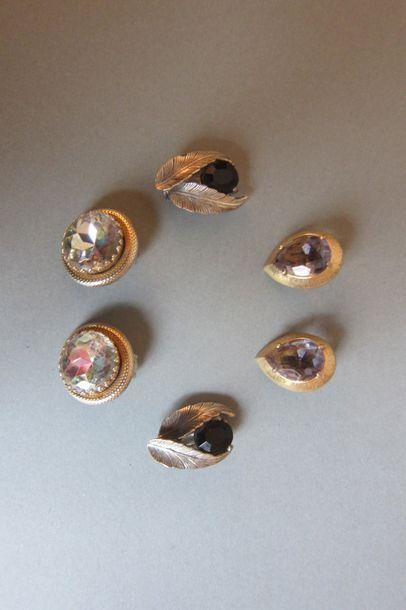 SCHIAPARELLI : Lot composé de 3 paires de clips d'oreille en métal argenté, doré...