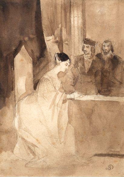 Achille DEVÉRIA (1800-1857)  Scène d'intérieur...