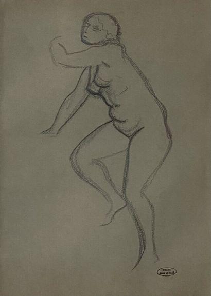 André DERAIN (1880-1954)  Nu  Fusain sur...