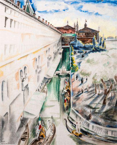 Henry DE WAROQUIER (1881-1970)  Venise  Aquarelle...