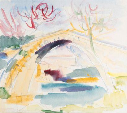 Pierre TAL COAT (1905-1985)  Paysage au pont...