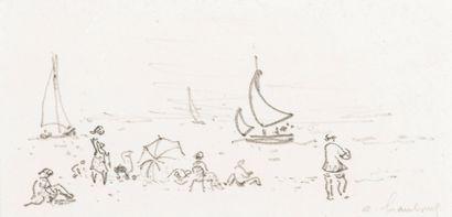 André HAMBOURG (1909-1999)  La plage  Dessin...