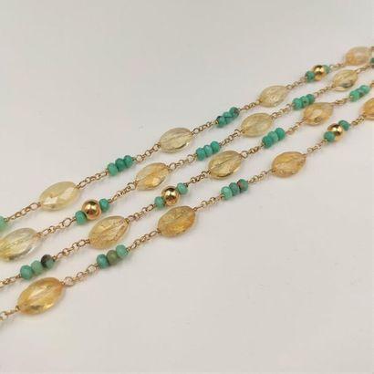 •SAUTOIR en vermeil (925‰) composé de perles...