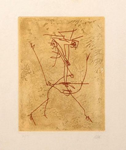Antonio Saura (1930-1998) •Hommage à Julio Cortazar, 1984 Eau-forte et aquatinte...