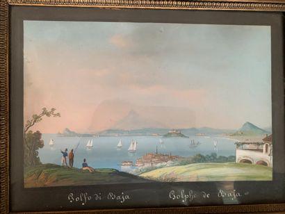 Ecole Napolitaine XIXème. «Golfo di Baja»....