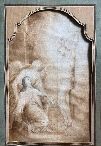 Ecole française XIXème. Crucifixion. Encre...