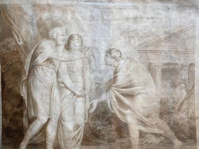 Ecole française début XIXème. Scène mythologique....