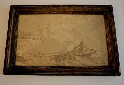 Ecole italienne vers 1800. Bateau au port....