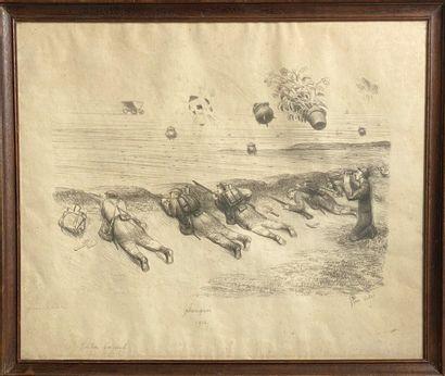 Ecole française XXème. Les planqués, 1914....