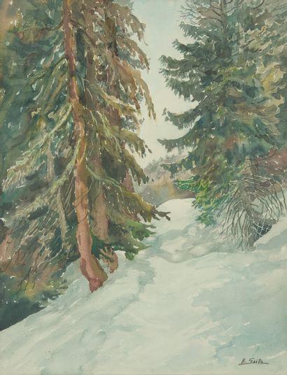 SAITO Ei Ichi (né en 1920).  Sapin enneigés Aquarelle sur papier, signée en bas à droite. 48 x 63 cm.