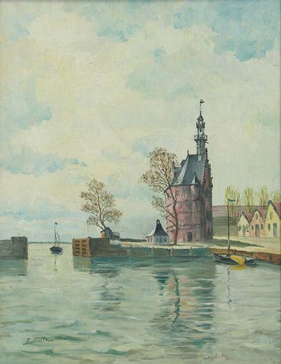 SAITO Ei Ichi (né en 1920).  Hoorn et les bords de l'Yssel Huile sur toile signée en bas à gauche, et localisée au dos.  61 x 46 cm.