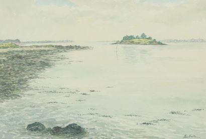 SAITO Ei Ichi (né en 1920).  Golfe du Morbihan Aquarelle sur papier, signée en bas à droite. 44 x 63 cm.