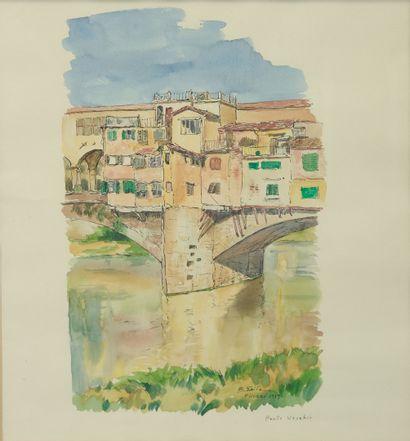 SAITO Ei Ichi (né en 1920).  Florence, le Ponte Vecchio Aquarelle sur papier, signée, localisée et datée 1959 en bas à droite.  35 x 31 cm.
