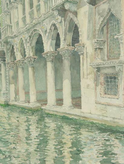 SAITO Ei Ichi (né en 1920).  Venise, Colonnade de la Ca d'Oro Aquarelle sur papier, signée en bas à gauche.  64 x 48 cm.