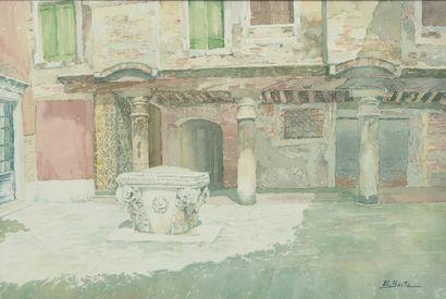 SAITO Ei Ichi (né en 1920).  Venise, Corte Petriana Aquarelle sur papier, signée en bas à droite.  36,5 x 54 cm.