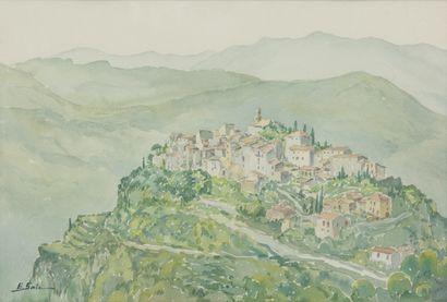 SAITO Ei Ichi (né en 1920).  La Roquette-sur-Var Aquarelle sur papier, signée en bas à gauche.  36 x 53 cm.