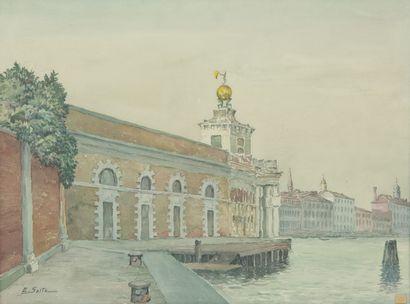 SAITO Ei Ichi (né en 1920).  Venise, Douane au crépuscule Aquarelle sur papier, signée en bas à gauche.  48 x 63 cm.