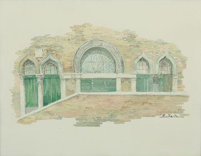 SAITO Ei Ichi (né en 1920).  Venise, cinq portes Aquarelle sur papier, signée en bas à droite.  37 x 46,5 cm.