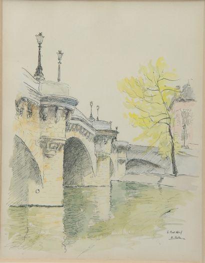 SAITO Ei Ichi (né en 1920).  Paris, le Pont Neuf et la place Furstenberg Deux aquarelles sur papier, signées et datée 52 pour l'une.  28 x 20 cm et 34 x 26 cm.