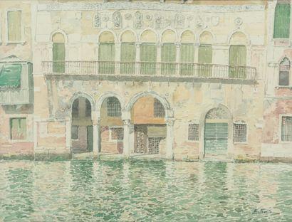 SAITO Ei Ichi (né en 1920).  Venise, Ca' da Mosto Aquarelle sur papier, signée en bas à droite.  48 x 63 cm.