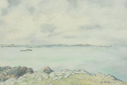 SAITO Ei Ichi (né en 1920).  Lilia, Finistère Aquarelle sur papier, signée en bas à droite.  44 x 63 cm.
