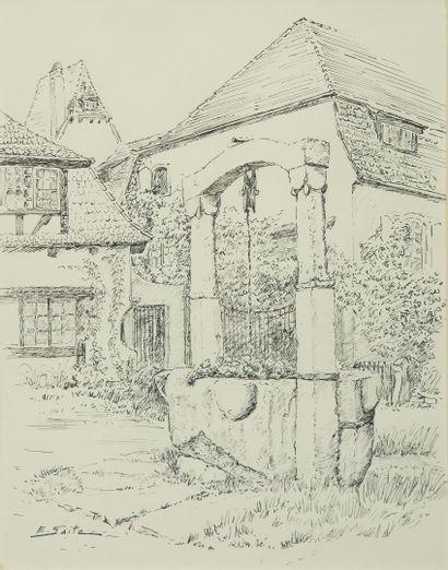 SAITO Ei Ichi (né en 1920).  Chaumière et Réserve Dirian   Deux dessins à l'encre, signés.  33 x 42 cm et 33 x 24 cm.