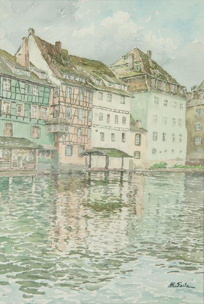 SAITO Ei Ichi (né en 1920).  Petite France à Strasbourg, lavoir sur l'Ill Aquarelle sur papier, signée en bas à droite (vitre fendue).  55 x 36 cm.