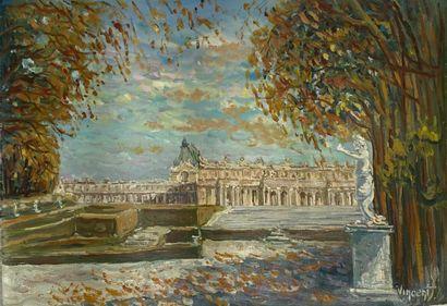 """Ecole française XXème siècle  """"La Seine et Notre-Dame""""  Huile sur toile (Sans châssis),..."""