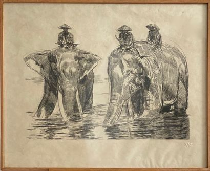 Ecole française XXème siècle  Les éléphants...
