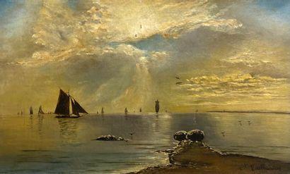 Ecole française XIXème.  Bord de mer aux...