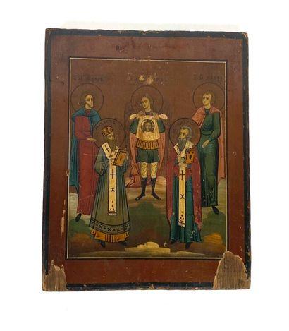 Icone russe avec cinq Saints dont un présentant...