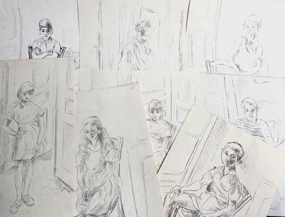 GOIRAN . Lot de 8 dessins