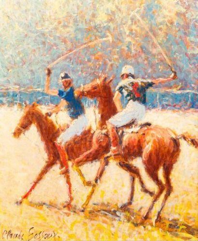 Claude FOSSOUX (1946-)  Polo  Huile sur toile,...