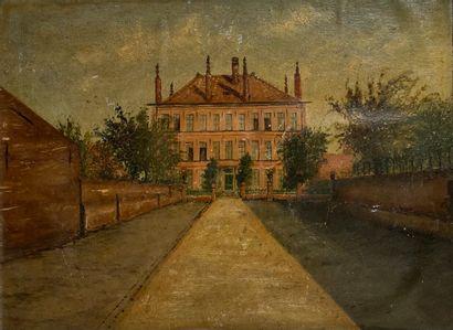 Ecole XXème siècle  La maison  Huile sur...