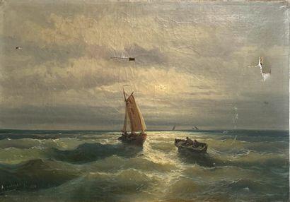 GODCHAUX (XIXème-XXème)   Barque sur une...