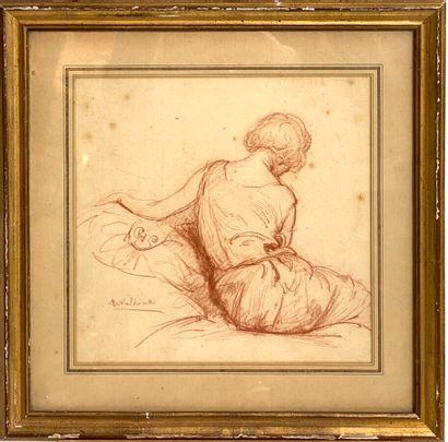 Ecole XXème siècle  Femme assise de dos  Sanguine...