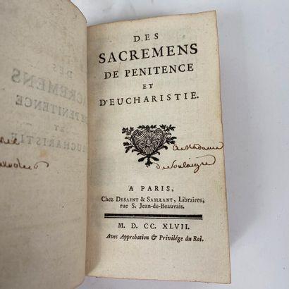 Des sacrements de pénitence et d'eucharistie....