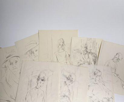 GOIRAN Lot de 8 dessins