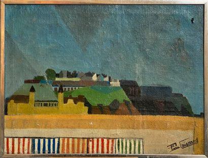 Pierre COIGNARD  Village  Huile sur toile,...