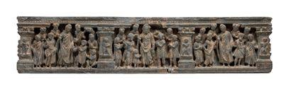 Frise du Gandhara représentant des épisodes de la vie du Bouddha Schiste Pakistan,...