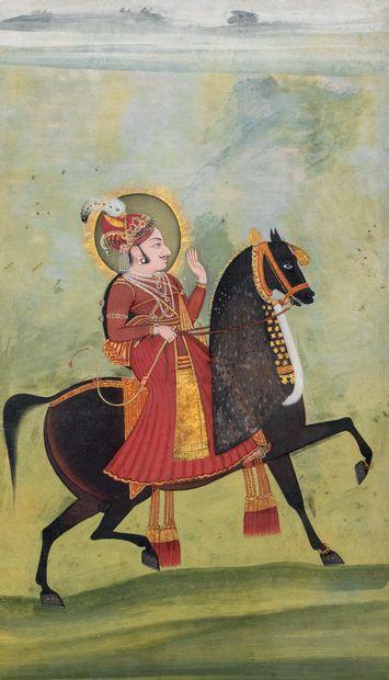 Portrait d'un Maharaja sur son cheval, probablement Ari Singh Encre, pigments et...