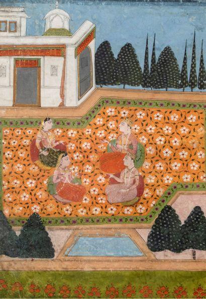 Courtisans sur la terrasse d'un palais Encre, pigments polychromes sur papier Inde,...