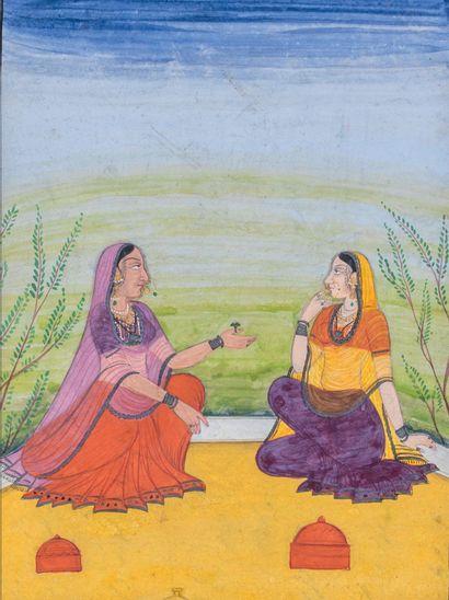 Jeunes femmes conversant Encre, pigments et or sur papier Inde du Nord, XVIIIe siècle...