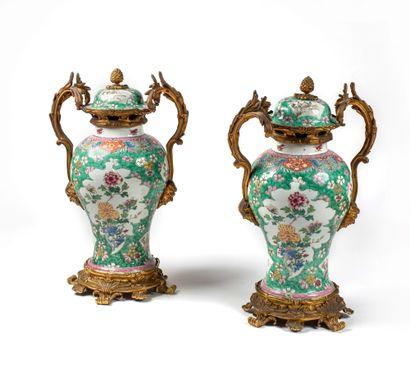 CHINE - EPOQUE KANGXI (1662 - 1722) Paire de vases balustres en porcelaine à décor...
