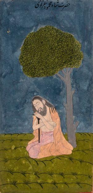 Ensemble de huit portraits Indiens. Pigments sur papier Inde, Deccan, XVIIIe siècle...