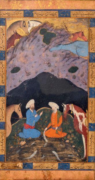 Peinture persane - Khawaja Khizir avec Ilyas...