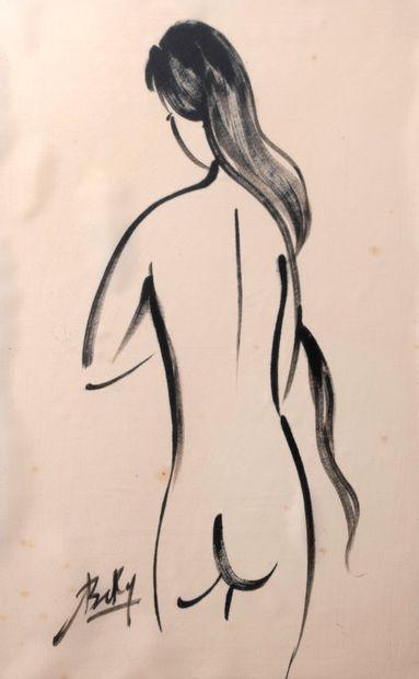 BEKY ( XXème siècle) Femme nue de dos Encre...