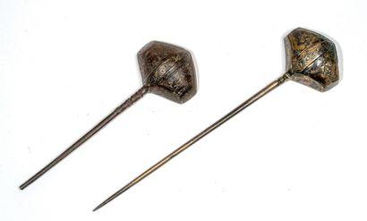 Deux cuillères persanes en bronze - Kafche Fonte de laiton Iran, Khorassan, XIIe...