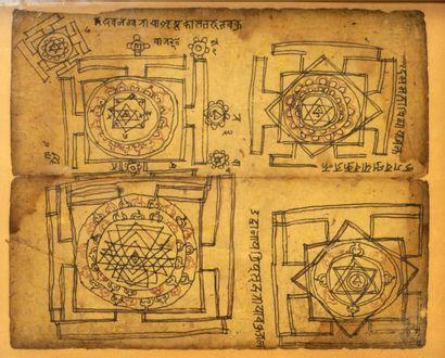 Page de diagrammes Jaïn (Yantras) Encre et pigments rouges sur papier Inde, XIXe...