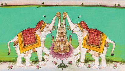 Miniature représentant Gajalakshmi Pigments polychromes et or sur papier Inde du...